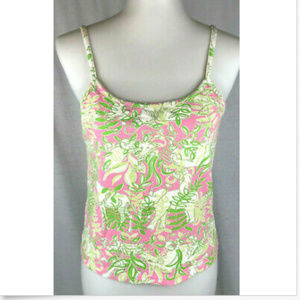 Lilly Pulitzer Tank Top M Pink Green Animals M